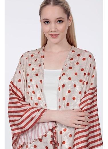 Vitrin Kollar Çizgi Desen Garnili Puantiyeli Kimono Kiremit